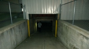 Ramp down to the little garage door - currently the only entrance/exit.