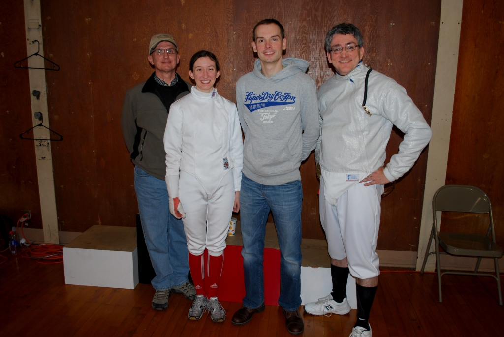 RDF fencers at the Icicle Invitational: (from left) Mike Timmons, Sarah Timmons Powell, Jim Musgrave, RJ Lesch