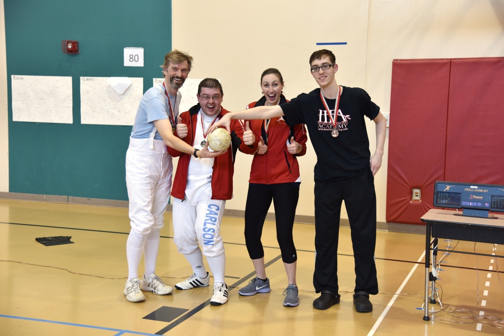 "Equinox Epee D & Under medalists: (from left) 1st - Charley Kubler from Twin Cities Fencing Club, 2nd - Lance Carlson from RDF, tied for 3rd - Julia Walter from RDF and Zachary Brooks from Heartland Fencing Academy. Charley earned a ""D15"" classification!"