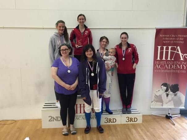 Women's epee medalists at the HFA Fall Classic.