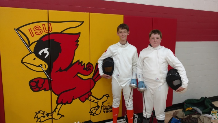 Nick and Daniel after fencing at Iowa Games