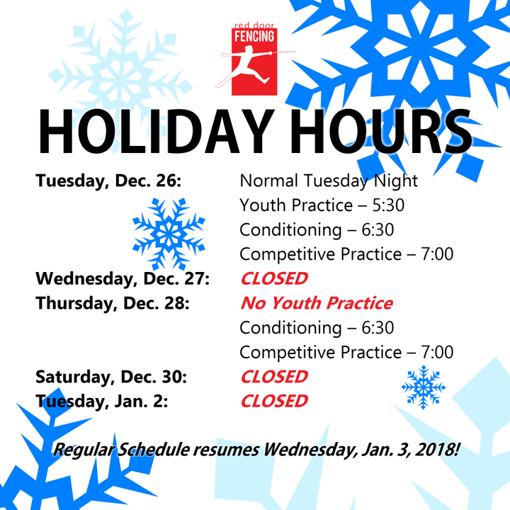 2017-2018 Holiday Hours