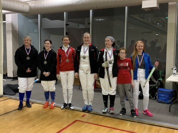 Women's Epee medalists - Sarah takes home bronze