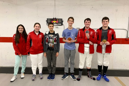 Junior/Y14 Mixed Epee medalists (minus 1)