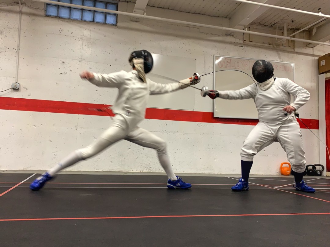 Nick lunges and Mat counterattacks at the Don't Succulent Epee Tournament