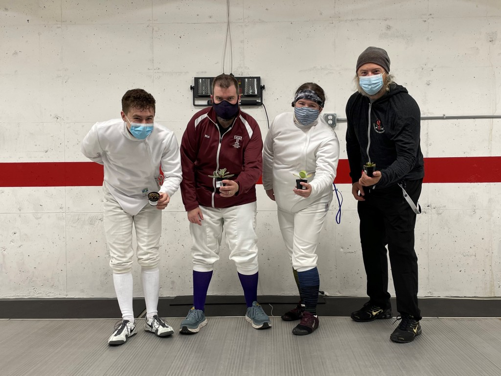 D & Under Mixed Epee Top 4: Ben (1st), Mat (2nd), Anna (3rd), Eric (3rd), standing together holding their succulents
